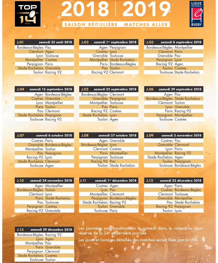 Calendrier Top 14 Rugby.Calendrier Top 14 2018 2019 Forum Fcg